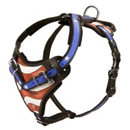 American Flag Painted Leather Amstaff Harness for Agitation Training