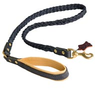 Braided Handcrafted Leather Amstaff Leash with Nappa Leather Lined Handle