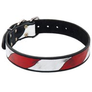 Amstaff Leather Collar With Handcrafted American Flag Painting
