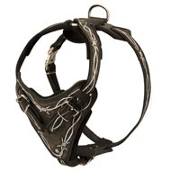 Painted Leather Amstaff Harness for Walking and Training