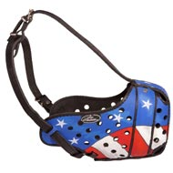 American Pride Painted Leather Amstaff Muzzle for Protection Training