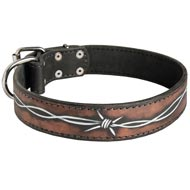 Handpainted Leather Amstaff Collar with Barbed Wire Drawing