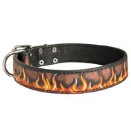 Handpainted Leather Amstaff Collar with Red Flames