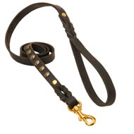 Studded Leather Amstaff Leash for Dog Walking and Training