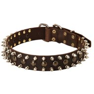 3 Rows Leather Spiked and Studded Amstaff Collar