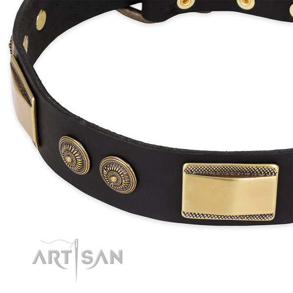 Unique full grain genuine leather collar for your impressive canine