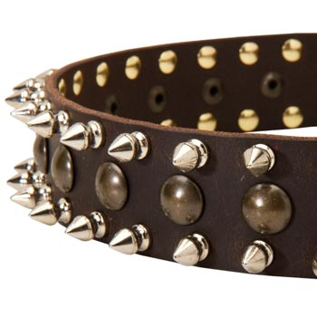 Amstaff Leather Collar with Hand Set Spikes  And Studs