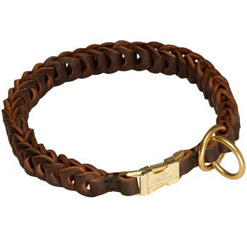 Amstaff Leather Collar Braided Design