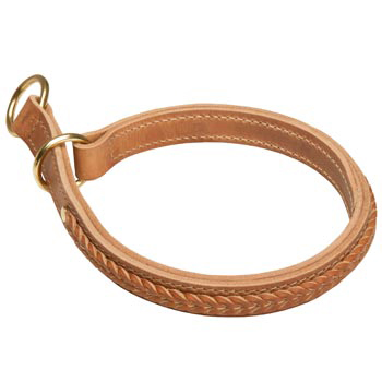Amstaff Obedience Training Choke Braided  Leather Collar