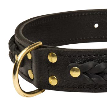 Amstaff Wide Leather Collar with D-ring