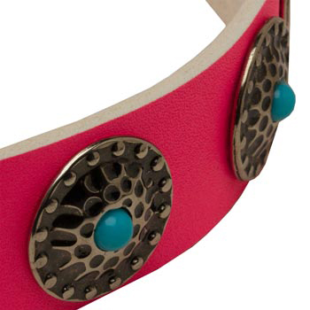 Pink Amstaff Collar Leather with Blue Stones