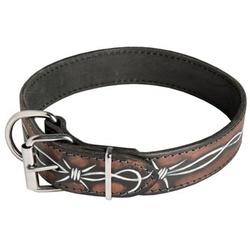 Amstaff Collar Leather Handmade Painted in Barbed Wire for Walking Dog