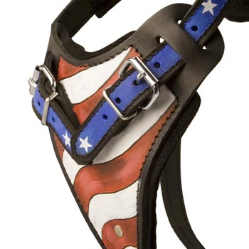 Amstaff Leather Harness With Hand Painted USA  Chest Plate