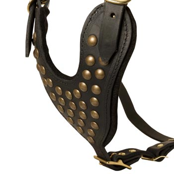 Studded Black Leather CHest Plate for Amstaff Comfort