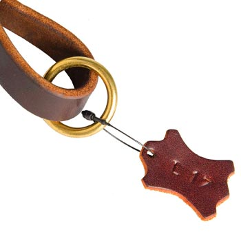 Leather Pull Tab for Amstaff with O-ring for Leash Attachment