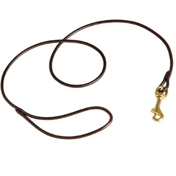 Round Leather Amstaff Leash for Dog Show
