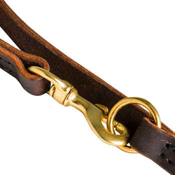 Amstaff Leather Leash with Brass Snap Hook and O-ring