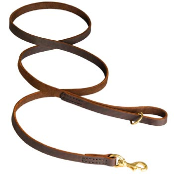 Classic Stitched Leather Amstaff Leash