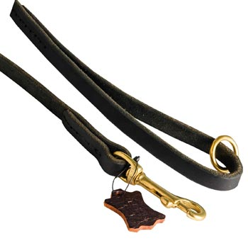 Handmade Leather Dog Leash with Floating O-Ring on The  Handle for Amstaff