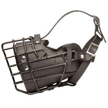 Leather Amstaff Muzzle Padded Metal Basket